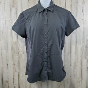 Kuhl Womens Button Front Shirt L Gray Nylon Vented